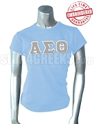 Alpha Sigma Theta Greek Letter T-Shirt, Baby Blue - EMBROIDERED with Lifetime Guarantee