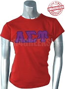 Alpha Sigma Upsilon Ladies' T-Shirt with Greek Letters, Red - EMBROIDERED with Lifetime Guarantee