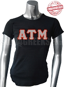 Alpha Tau Mu Ladies' Greek Letter T-Shirt, Black - EMBROIDERED with Lifetime Guarantee