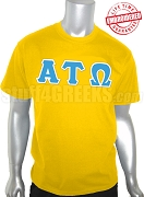 Alpha Tau Omega Greek Letter T-Shirt, Gold - EMBROIDERED with Lifetime Guarantee