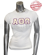 Alpha Theta Omega Greek Letter T-Shirt, White - EMBROIDERED with Lifetime Guarantee