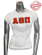 Alpha Theta Pi Greek Letter T-Shirt, White - EMBROIDERED with Lifetime Guarantee