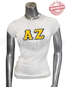 Alpha Zeta Ladies' Greek Letter T-Shirt, White - EMBROIDERED with Lifetime Guarantee