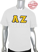 Alpha Zeta Men's Greek Letter T-Shirt, White - EMBROIDERED with Lifetime Guarantee