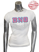 Beta Nu Theta Greek Letter T-Shirt, White - EMBROIDERED with Lifetime Guarantee