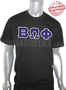 Beta Omega Phi Greek Letter T-Shirt, Black - EMBROIDERED with Lifetime Guarantee