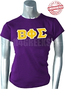 Beta Phi Sigma Greek Letter T-Shirt, Purple - EMBROIDERED with Lifetime Guarantee