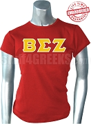 Beta Sigma Zeta Greek Letter T-Shirt, Red - EMBROIDERED with Lifetime Guarantee