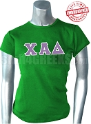 Chi Alpha Delta Greek Letter T-Shirt, Kelly Green - EMBROIDERED with Lifetime Guarante0