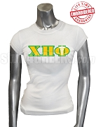 Chi Eta Phi T-Shirt with Greek Letters and Caduceus, White - EMBROIDERED with Lifetime Guarantee