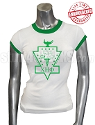 Chi Eta Phi Ringer T-Shirt with Crest, White/Green - EMBROIDERED with Lifetime Guarantee