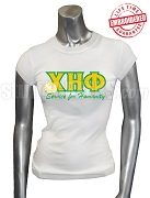 Chi Eta Phi T-Shirt with Greek Letters, Motto, and Flower, White - EMBROIDERED with Lifetime Guarantee