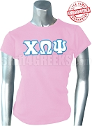 Chi Omega Psi Greek Letter T-Shirt, Pink - EMBROIDERED with Lifetime Guarantee