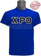 Chi Rho Omicron Greek Letter T-Shirt, Royal Blue - EMBROIDERED with Lifetime Guarantee