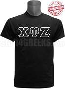 Chi Upsilon Zeta Greek Letter T-Shirt, Black - EMBROIDERED with Lifetime Guarantee