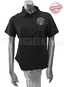 Clark College Ladies' Polo with Logo, Black - EMBROIDERED with Lifetime Guarantee
