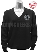 Clark College Logo V-Neck Sweater, Black - EMBROIDERED with Lifetime Guarantee