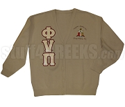 Phi Nu Pi Greek Letter Cardigan with Crest, Khaki Tan