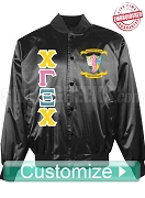 Chi Gamma Xi Chi Greek Letter Satin Baseball Jacket with Crest, Black