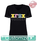 Custom Embroidered Chi Gamma Xi Chi V-Neck Shirt Lifetime Embroidery Guarantee