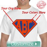 Custom Embroidered T-Shirt with Letters Inside Superman Shield - EMBROIDERED with Lifetime Guarantee