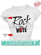Custom Rock The Vote Election T-Shirt - EMBROIDERED with Lifetime Guarantee