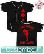 Fraternity/Sorority Deluxe Custom Cloth Baseball Jersey: Includes Greek Letter Front, Left Sleeve Text, Back Sleeve Text, Back Line Name, Back Artwork, and Back Ship Name (TW) - EMBROIDERED WITH LIFETIME GUARANTEE