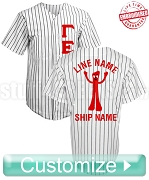 Fraternity/Sorority Deluxe Custom Cloth Pinstripe Baseball Jersey: Includes Greek Letter Front, Left Sleeve Text, Back Sleeve Text, Back Line Name, Back Artwork, and Back Ship Name (TW) - EMBROIDERED WITH LIFETIME GUARANTEE