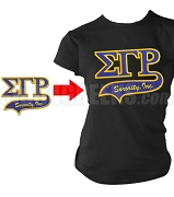 Greek Sorority Greek Letter Tail Patch T-Shirt