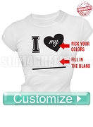 Custom I Heart T-Shirt - EMBROIDERED with Lifetime Guarantee