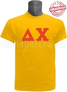 Delta Chi Greek Letter T-Shirt, Gold - EMBROIDERED with Lifetime Guarantee
