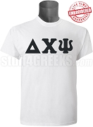 Delta Chi Psi Greek Letter T-Shirt, White - EMBROIDERED with Lifetime Guarantee