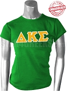 Delta Kappa Sigma Greek Letter T-Shirt, Green - EMBROIDERED with Lifetime Guarantee