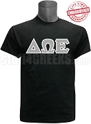 Delta Omega Epsilon Greek Letter T-Shirt, Black - EMBROIDERED with Lifetime Guarantee