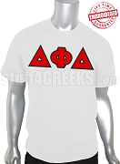 Delta Phi Delta Greek Letter Men's T-Shirt, White - EMBROIDERED with Lifetime Guarantee