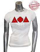 Delta Phi Delta Greek Letter Ladies' T-Shirt, White - EMBROIDERED with Lifetime Guarantee
