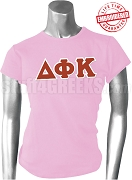 Delta Phi Kappa Greek Letter T-Shirt, Pink - EMBROIDERED with Lifetime Guarantee