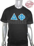 Delta Phi Greek Letter T-Shirt, Black - EMBROIDERED with Lifetime Guarantee
