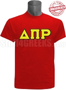 Delta Pi Rho Greek Letter T-Shirt, Red - EMBROIDERED with Lifetime Guarantee