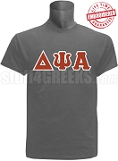 Delta Psi Alpha Men's Greek Letter T-Shirt, Gray - EMBROIDERED with Lifetime Guarantee