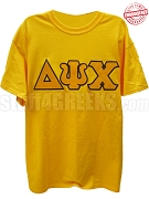 Delta Psi Chi T-Shirt with Greek Letters, Gold - EMBROIDERED with Lifetime Guarantee