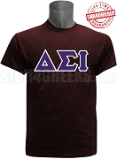 Delta Sigma Iota Greek Letter T-Shirt, Maroon - EMBROIDERED with Lifetime Guarantee