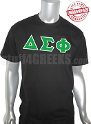 Delta Sigma Phi Greek Letter T-Shirt, Black - EMBROIDERED with Lifetime Guarantee