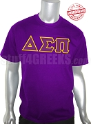 Delta Sigma Pi Men's Greek Letter T-Shirt, Purple - EMBROIDERED with Lifetime Guarantee