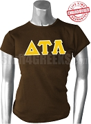 Delta Tau Lambda Greek Letter T-Shirt, Brown - EMBROIDERED with Lifetime Guarantee