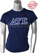 Delta Tau Sigma Greek Letter T-Shirt, Navy Blue - EMBROIDERED with Lifetime Guarantee