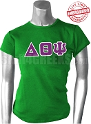 Delta Theta Psi Greek Letter T-Shirt, Kelly Green - EMBROIDERED with Lifetime Guarantee