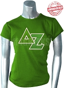 Delta Zeta T-Shirt with Greek Letters, Green - EMBROIDERED with Lifetime Guarantee