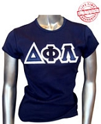Triple-Layered D-Phi-L Letters Fitted T-Shirt, Navy - EMBROIDERED with Lifetime Guarantee