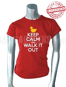 Diva Duck Keep Calm and Walk It Out T-Shirt, Red T-Shirt - EMBROIDERED with Lifetime Guarantee